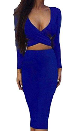 Couleur Pure De Confortables Femmes Enveloppées De Sangles Croisées Poitrine Robes Club Sexy Bleu