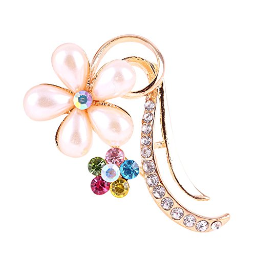 Hosaire Petal Design Crystal Rhinestone Rhinestone Fashion Brooch Pin Pendant Gold - Design Pin Brooch