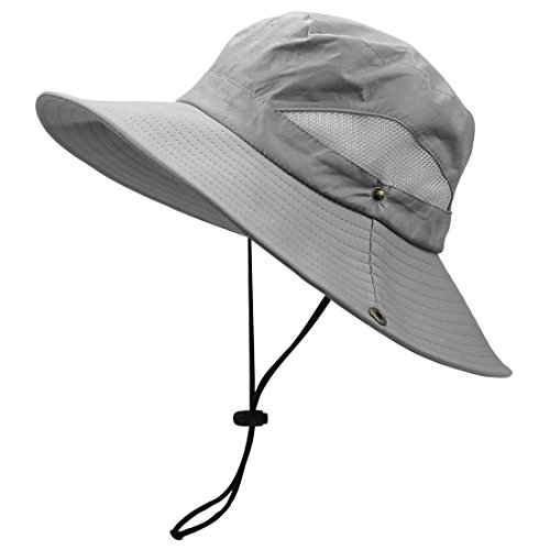 Pantipinky UV Sun Protection Hat for Men Wide Brim Bucket Boonie Hat for Safari fishing Hiking Beach Golf, Gray
