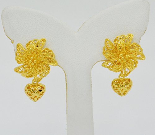 Bridal 22k Yellow Gold Plated Gp Women Hoop Earrings Lever Back Jewelry Ethnic Thai 17 (22k Gold Jewelry)