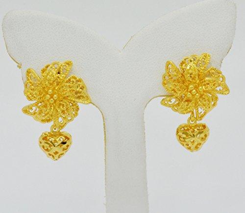22k Earrings (Bridal 22k Yellow Gold Plated Gp Women Hoop Earrings Lever Back Jewelry Ethnic Thai 17 mm)