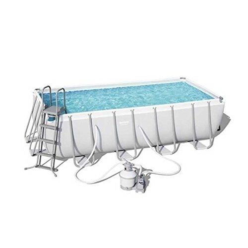 Bestway Power Steel Rectangular Swimming Pool Set, 11532 liters, Grey, 16 8...