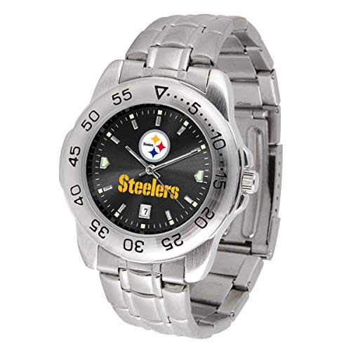 Pittsburgh Steelers Watch - Game Time NFL Pittsburgh Steelers Mens Sport SteelWrist Watch, Team Color, One Size