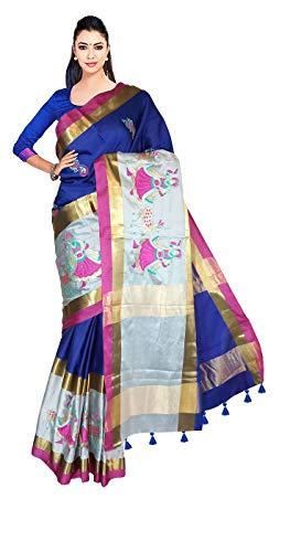 VFCollections - Banaras Pattu Cotton Silk Saree - with Running Blouse Piece for Women (Blue)