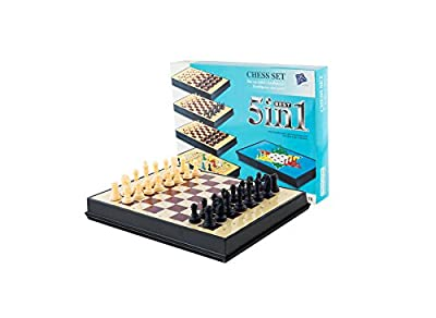 AOQING Chess Set 5 in 1 Magnetic Multipurpose Functional Recycle Material Chess Board Game