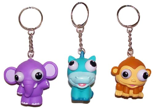 Inkology Bug Eye Key Chains, Safari Collection, Set of 6, Assorted Designs - Collection Chain Key Favors