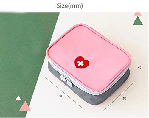 Qearly Mini Compact Nylon Erste Hilfe Tasche First Aid Kit-Rosa