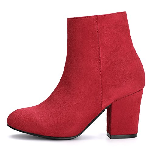 Allegra K Women's Christmas Side Zip Chunky Heel Ankle Boots