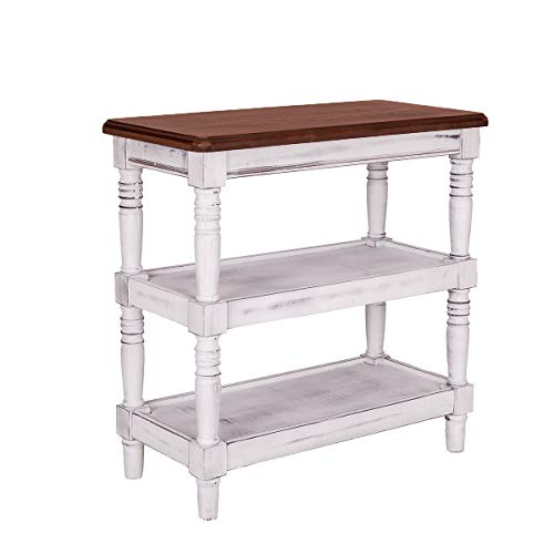 GRAFZEAL Antique Pine Frame Console Table Rustic Sofa Table, Side End Table, 3-Tier Kitchen Utility Storage Shelf Baker's Rack Microwave Stand, Wood Look Accent Table 23.6