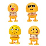 Cute Emoji Bobble Head Dolls, Dancing Funny Smiley Face Springs Dancing Toys for Car Dashboard Ornaments, Party Favors, Gifts, Home Decorations(4 Pcs)