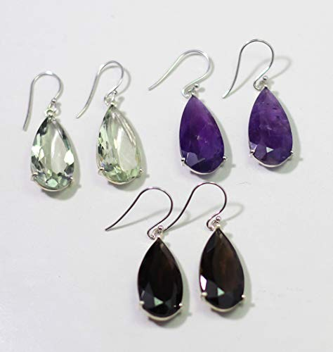 Amethyst Earring,Smoky silver Earring,Green Amethyst earring,Tear drop Hanging earrings,925 silver Jewelry,Minimalist Jewelry ()