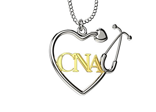 Caring Hands Gifts CNA Certified Nurse Assistant Stethoscope Heart Necklace, CNA Gift, CNA Pendant ()