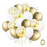 Gold Confetti White Balloons 60pcs, 12 Inch Latex Balloons Gold Metallic Party Balloons with Golden Ribbon for Birthday Party Baby Shower Bridal Wedding Engagement Decorations
