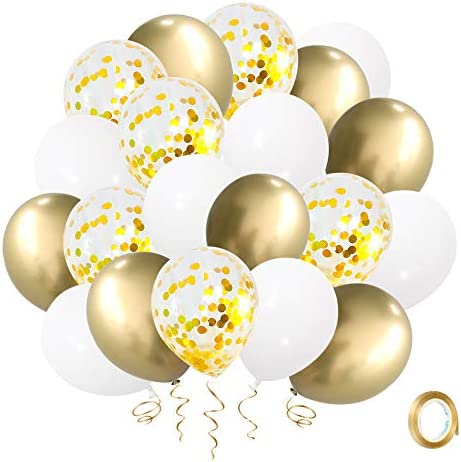 Gold Confetti White Balloons 60pcs 12 Inch Latex Balloons Gold Metallic Party BalloonsGolden Ribbon for Birthday Party Baby Shower Bridal Wedding Engagement Decorations