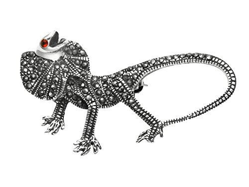 Wild Things Sterling Silver & Marcasite Frilled Neck Lizard Pin w/Faceted Red Crystal - Marcasite Pin Lizard