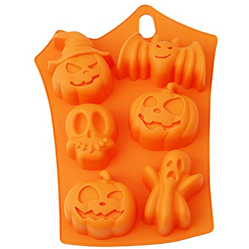 Halloween Silicone Baking Molds, Scary Pumpkin Ghost Bakeware Gummy Hard Candy Chocolate Cupcake Cookie Ice Cube Molds BPA Free 7