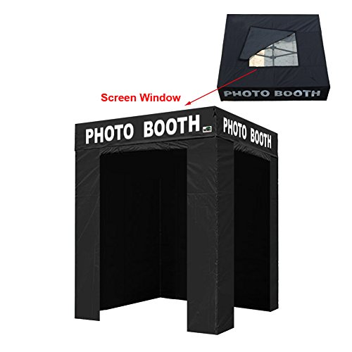Eurmax 5x5 Pop Up Canopy Tent Outdoor Instant Canopies with Photo Booth Printed On 4 Valances (5 x 5 Flat Top)]()