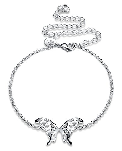 - Cutesmile Fashion Jewelry 925 Sterling Silver Butterfly Wings Adjustable Chain Anklet for Women and Girls