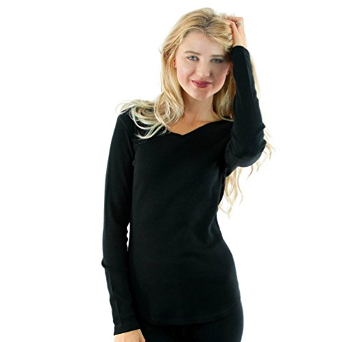 Woolx Womens Eva Midweight Merino Wool Baselayer Tunic Top, Black, Medium