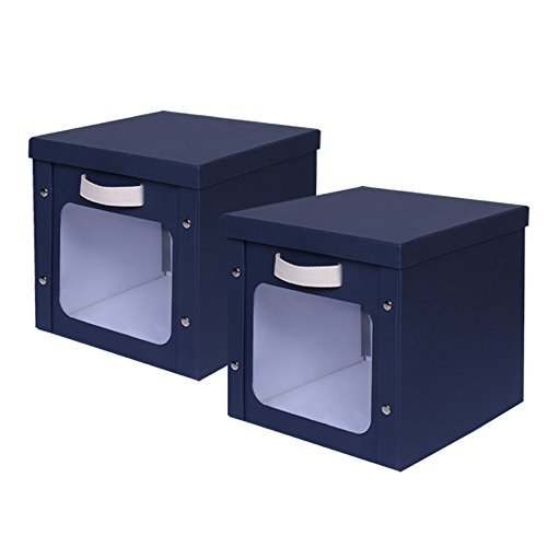 Storage Boxes, INLYF Cardboard Storage Bins with Lid and Handle, Strong Foldable Storage Basket Organizer for Office Nursery Bedroom Shelf, 2-Pack, Dark Blue