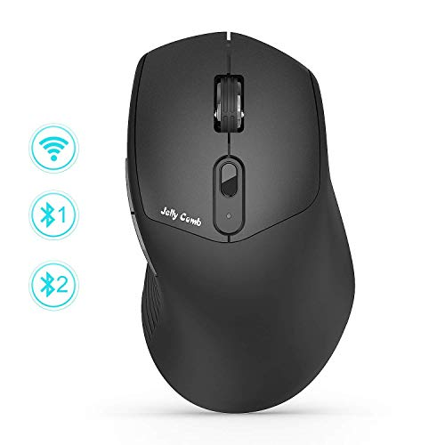 Wireless Mouse, Jelly Comb Ergonomic Multi-Device Wireless Mouse 2.4GHz Wireless Bluetooth Mouse, Easy-Switch up to 3 Devices, UP to 2400 DPI for Laptop, PC, Windows, Android, OS System