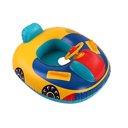 Firlar Baby Float Seat Boat,Inflatable Swim Ring Car with Steering Wheel Floating Ride-on Water Toy for Children Age 1-4 Years Old