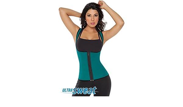 018762c5bc Amazon.com  Fajate 8002 -Chaleco Ultra Sweat Dama   Sweat Enhancing Thermal  Vest Reversible (Green Black