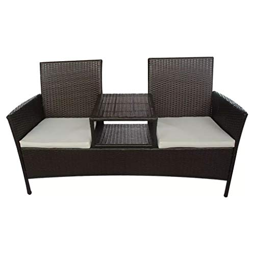 Neolifu Outdoor Bench 2-Seater with Tea Table Poly Rattan Brown (Stock US)
