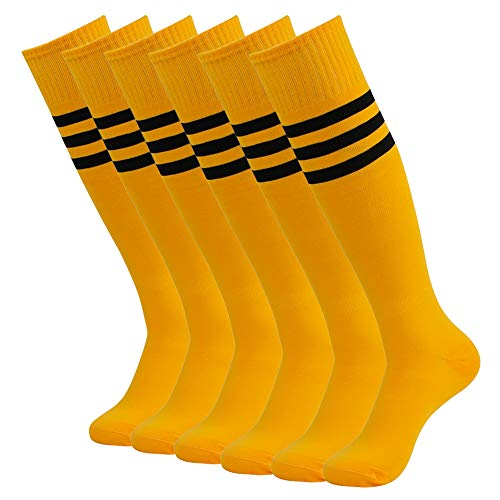 (Long tube Football Socks, SUTTOS Unisex Solid Color Knee-High Outdoor Sports Socks,6 Pairs-Yellow-Stripe)