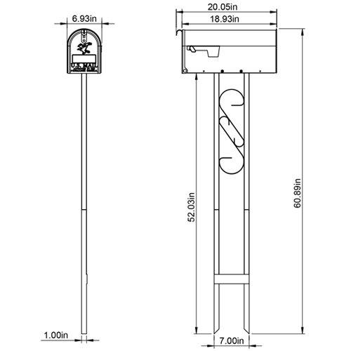T11KIT0B Gibraltar Mailboxes Decorative Medium Capacity Galvanized Steel Black Mailbox /& Post Combo