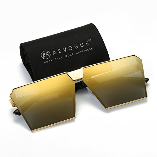 AEVOGUE Sunglasses For Men Square Oversized Metal Frame Brand Designer AE0436 (Gold, - Cool Sunglasses Is
