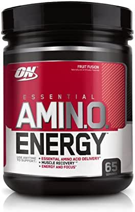 OPTIMUM NUTRITION ESSENTIAL AMINO ENERGY, Fruit Fusion, Keto Friendly Preworkout and Essential Amino Acids with Green Tea and Green Coffee Extract, 65 Servings