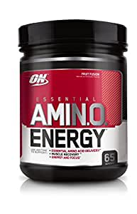 Optimum Nutrition Amino Energy with Green Tea and Green Coffee Extract, Preworkout and Essential Amino Acids, Fruit Fusion 65 Servings