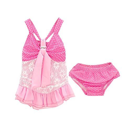 (Kimanli Infant Baby Girls Leopard Ruffles Tassel Romper Swimwear Swimsuit Bikini Set)