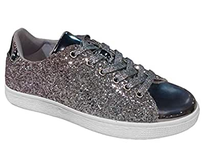 Top Silver Two Tone Sexy Women Sneakers Christmas Uniform Sparkly Faux Leather Laceup Flat Wedge Heel Slip On Loafer Track Trendy Soft Bedazzled Shoe for Sale Teen Girl Ladies (Size 6, Silver)