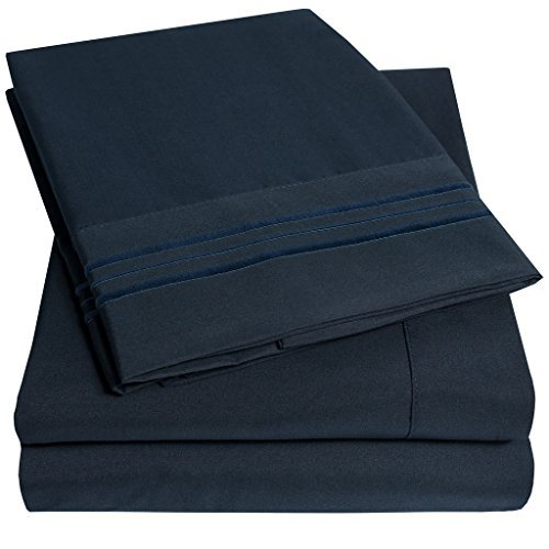 1500 Supreme Collection Extra Soft Twin Sheets Set, Navy Blue - Luxury Bed Sheets Set with Deep Pocket Wrinkle Free Hypoallergenic Bedding, Over 40 Colors, Twin Size, Navy (Bed Sets Sale On Sheets)