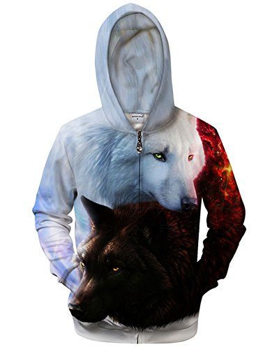 Price comparison product image Chiclook Cool Men Zip Sweatshirt Hooded 3D Yin and Yang Wolf Zipper Hoodies Outwear Jacket