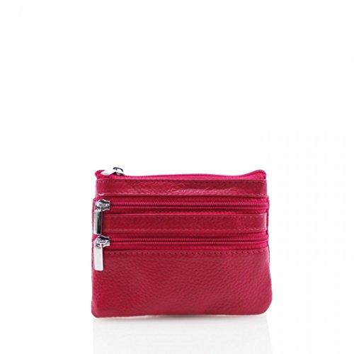 LeahWard Damen Schlüsselanhänger Geldbörse 5 (Pink Geldbörse) Plum Reißverschluss Geldbörse