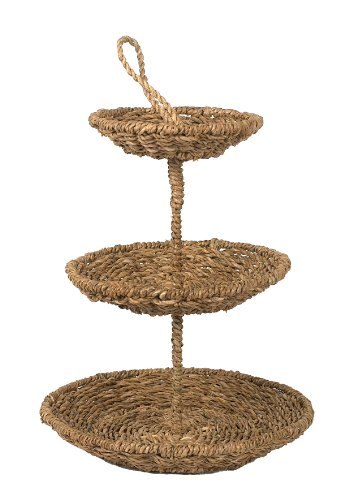 Creative Co-Op Round Bankuan Rope 3-Tier Tray with Abaca Handle (Bankuan Basket)
