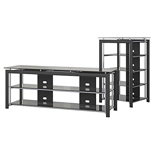 Bush Furniture Midnight Mist TV Stand and Audio Tower in Black - Flat Panel Tv Stand Tower