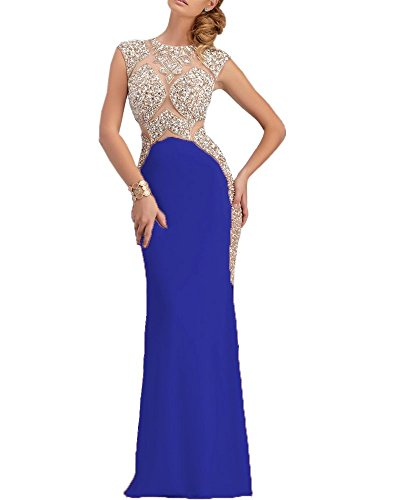 Olivias Sparkly Crystal Top Royal Blue Mermaid Split Evening Gowns 2016 Prom Dress