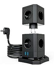 TATE GUARD 10-voudige overspanningsbeveiliging stekkertoren stekkerdoos met 3 USB-aansluitingen, afneembaar stopcontact, 2500 W/10 A, 30 W snellading, brandvertragend, 2 m verlengkabel voor thuis en op kantoor, zwart