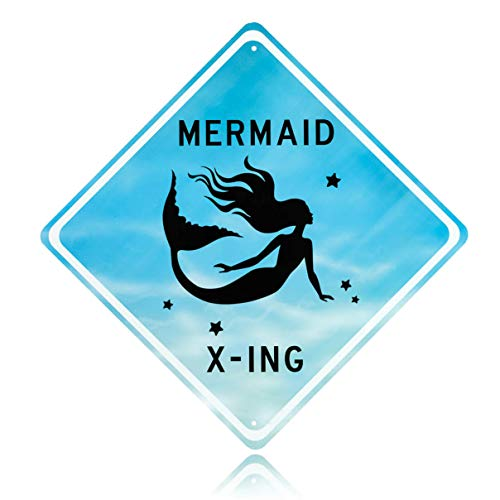 Mermaid room decor - Decorative Aluminum Blue Mermaid Crossing Street Sign. Beautiful Bedroom art for little girls room. Put the poster away & splash her room with tin wall art mermaids x-ing signs!