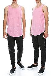 Mens Hipster Hip Hop Triblend Melange Elong Crewneck PINK Tanktop T-Shirt XLARGE