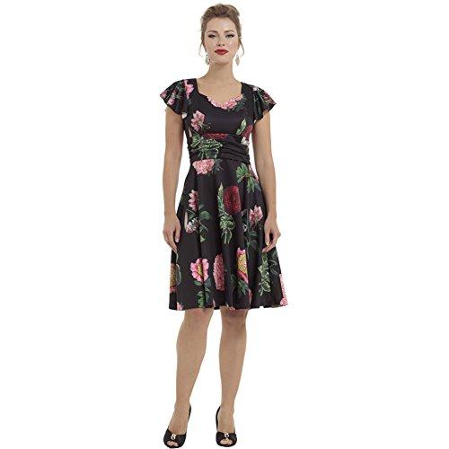 Voodoo-Vixen-Mabel-Large-Vintage-Floral-Flare-Dress-Black