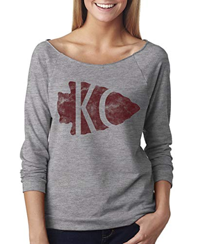 Womens Football Heart KC Light Weight Raglan Sweatshirt Kansas City Royaltee Arrowhead Shirts, Heather Grey, Small