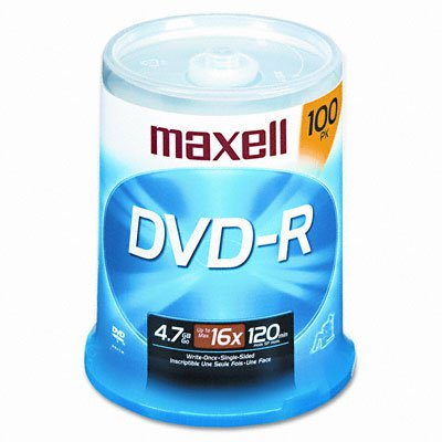 Maxell 638014 - DVD-R Discs, 4.7GB, 16x, Spindle, Gold, 100/Pack-MAX638014