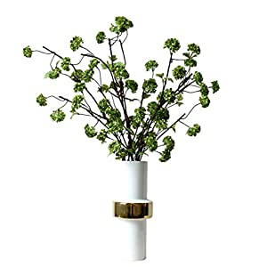Skyseen 4Pcs Artificial Snowball Spray Hydrangea Flower Fake Plant, Green 3
