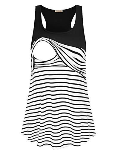(Women's Stripe Color Block Sleeveless T-Shirts Racerback Maternity Nursing Tank Tops (Black, Small))