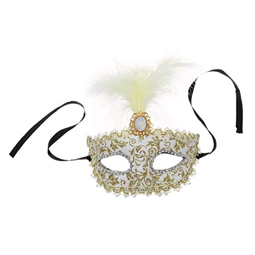 Party Masks - Mask With Feathers Venetian Style White Gold X Carnival Party - Bulk Venetian Pack Mask Masquerade Purple White Women Feathers Party Masks Face Mask White Tile Vase -